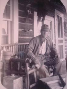 Gene on front porch of Barker Ranch