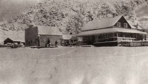 Log Cabin Post Office Store in the Winter