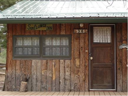 """Sunflower Inn"" was the first cabin purchased by Don and Margaret Gorton in Red Feather Lakes, prior to taking over the ""Pawnee.""  This picture was taken in 2011."
