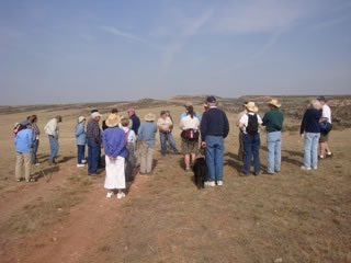 Wayne Sundberg explaining the Overland trail history.