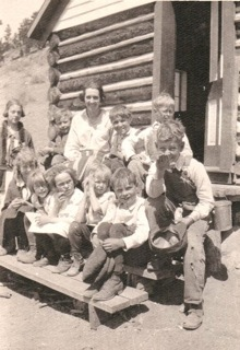 School children in front of Log Cabin School