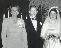1952 Bernice, Dick & Joie at Ray & Joie wedding